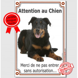 "Beauceron Couché, plaque ""Attention au Chien"" 24 cm VLUX A"