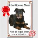 """Beauceron Couché, plaque """"Attention au Chien"""" 24 cm VLC"""
