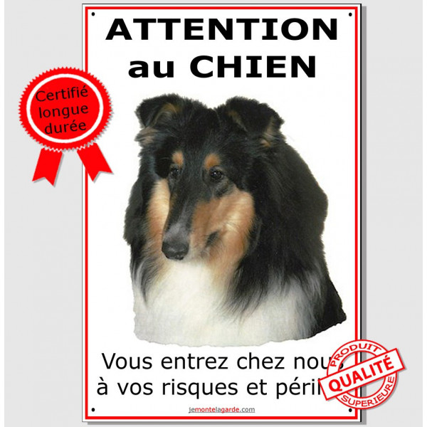 "Colley Tricolore, Panneau ""Attention au Chien"" affiche plaque photo pancarte race"