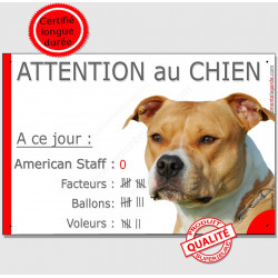 "Am-Staff, plaque ""Nombre de Voleurs... Attention au Chien"" 24 cm NBR"