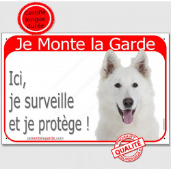"""Berger Blanc Suisse tête, plaque portail rouge """"Je Monte la Garde"""" 24 cm, pancarte panneau photo attention au chien"""