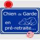 Attention au Chien de Garde en pré-retraite... Plaque bleu portail humour marrant drôle panneau affiche pancarte