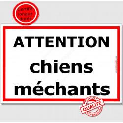 """Plaque Portail """"Attention ChienS MéchantS"""" Liseré Rouge 3 tailles ECO C"""