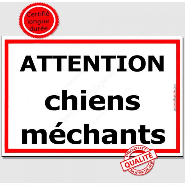 Attention ChienS MéchantS, Plaque de Portail, panneau affiche pancarte Liseré Rouge pluriel