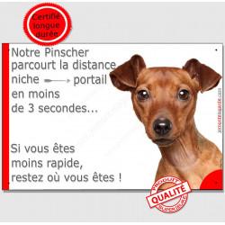 """Pinscher Fauve, plaque """"parcourt Distance Niche - Portail"""" 24 cm 3SEC"""