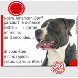 """Am-Staff  Tête, plaque """"distance Niche - Portail"""" 24 cm 3SEC"""