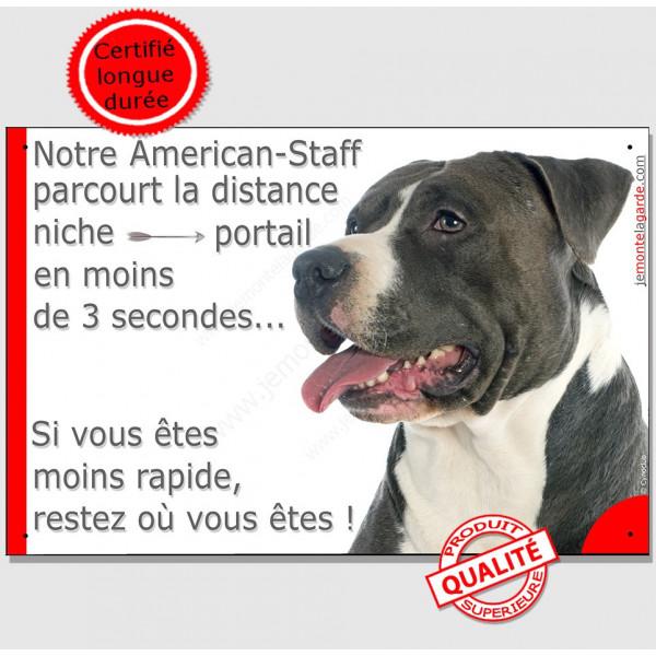 Plaque humour, Distance Niche - Portail moins 3 secondes, Am-Staff noir et blanc Tête, american pancarte drôle attention chien