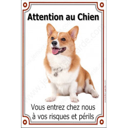 Plaque 24 cm LUXE Attention au Chien, Welsh Corgi Assis