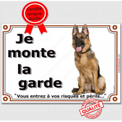 """Berger Allemand Assis, plaque """"Je Monte la Garde"""" 2 tailles LUX B"""