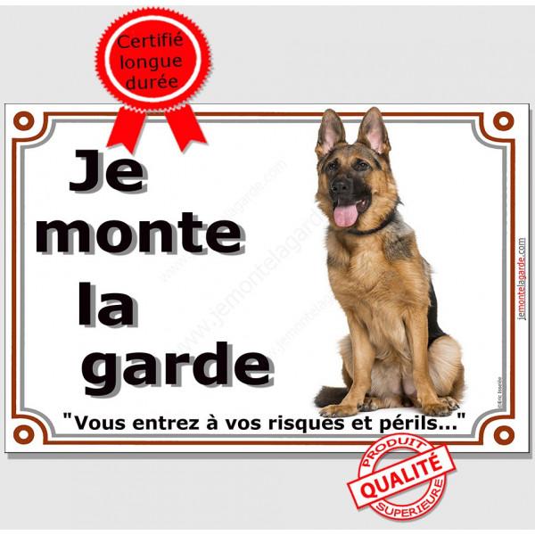 Berger Allemand Assis, Plaque Portail Epaisse Je mointe la garde, risques périls, panneau affiche pancarte attention au chien