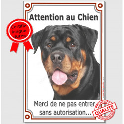 "Rottweiler Buste, Plaque verticale ""Attention au Chien"" 24 cm A"