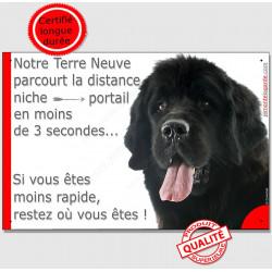 """Terre Neuve Noir tête, plaque """"parcourt Distance Niche - Portail"""" 24 cm"""