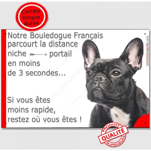 Bouledogue Français Noir Bringé Tête, Plaque attention au chien Portail distance niche-portail 3 secondes, pancarte, affiche pan