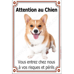 Plaque 24 cm LUXE Attention au Chien, Welsh Corgi Face