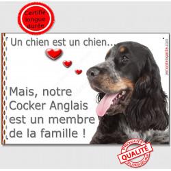 """Cocker Anglais Tricolore, Plaque Portail """"un chien est un chien, membre de la famille"""" pancarte, affiche panneau photo"""