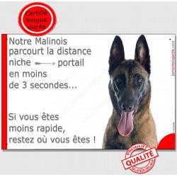 """Berger Belge Malinois Tête, plaque humour """"distance Niche - Portail moins de 3 secondes"""" pancarte attention au chien drôle photo"""