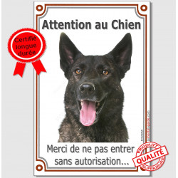 "Berger Hollandais bringé, plaque portail verticale ""Attention au Chien, interdit sans autorisation"" pancarte panneau photo"