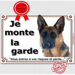 Berger Allemand Poils Courts Tête, Plaque portail Je Monte la Garde, panneau risques et périls pancarte attention au chien