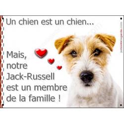Plaque 16 cm LOVE Membre de la Famille,  Jack Russell poils durs