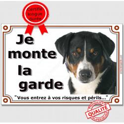Plaque portail Je Monte la Garde, Bouvier Suisse Appenzell Tête, risques et périls, suisse pancarte panneau attention au chien