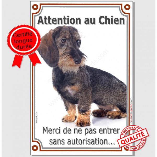 """Teckel Poils Durs, Plaque Portail """"Attention au Chien, interdit sans autorisation"""" verticale, pancarte, affiche panneau photo"""