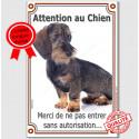 """Teckel Poils Durs, plaque verticale """"Attention au Chien"""" 24 cm A"""