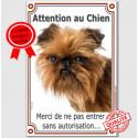 """Griffon Bruxellois, plaque verticale """"Attention au Chien"""" 24 cm A"""