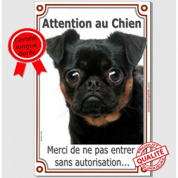"""Brabançon, Plaque Portail """"Attention au Chien, interdit sans autorisation"""" verticale, pancarte, affiche panneau photo"""