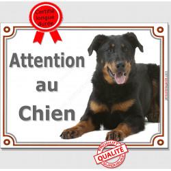 """Beauceron couché, plaque """"Attention au Chien"""" 2 tailles LUX C"""