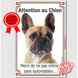 "Bouledogue Français, plaque verticale ""Attention au Chien"" 24 cm A"