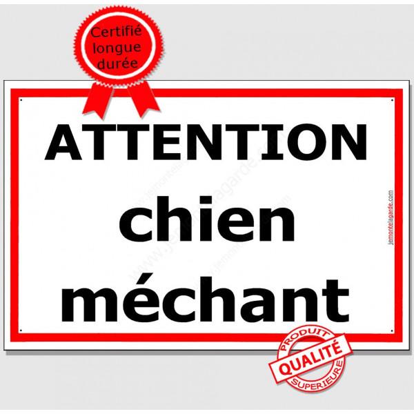 Attention Chien Méchant, Plaque de Portail, panneau affiche pancarte Liseré Rouge