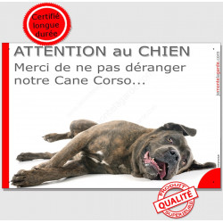 """Plaque """"Attention au Chien, Merci de ne pas déranger notre Cane Corso"""" 24 cm Italiano bringé pancarte humour panneau photo"""