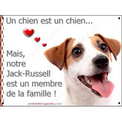 Plaque 2 Tailles LOVE Membre de la Famille, Jack Russell Blanc et fauve