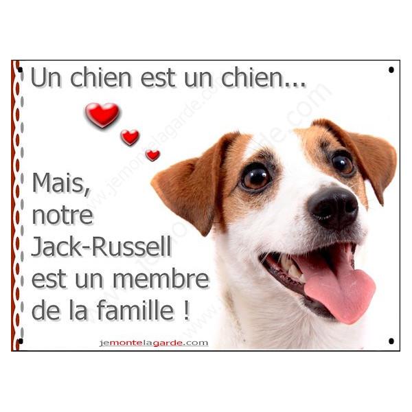 Jack Russell Blanc et fauve, Plaque Portail un chien est un chien, membre de la famille, pancarte, affiche panneau