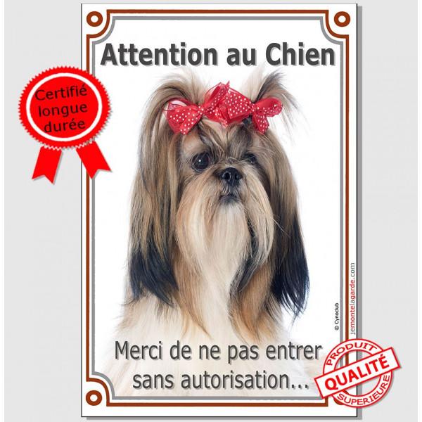 """Shih-Tzu kiki, Plaque Portail """"Attention au Chien verticale, interdit sans autorisation"""" pancarte, affiche panneau photo"""