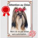 """Shih-Tzu kiki, plaque portail verticale """"Attention au Chien"""" 24 cm VL-A"""