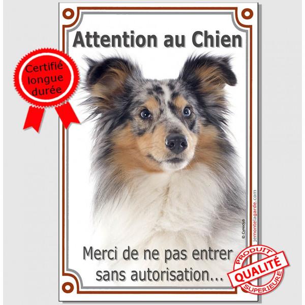 """Shetland Merle Tête, Plaque Portail """"Attention au Chien verticale, interdit sans autorisation"""" pancarte, affiche panneau photo"""
