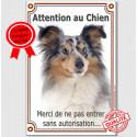 """Shetland Merle Tête, plaque portail """"Attention au Chien"""" 24 cm VL-A"""