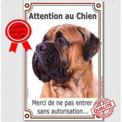 "Bullmastiff Fauve, plaque verticale ""Attention au Chien"" 24 cm LUXE"