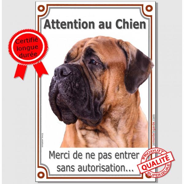 Bullmastiff Fauve Tête, Plaque Portail Attention au Chien verticale, pancarte panneau interdit sans autorisation
