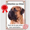 "Bullmastiff Fauve, plaque verticale ""Attention au Chien""  24 cm LUXE"