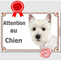 "Westie Tête, plaque ""Attention au Chien"" pancarte panneau West Highland White Terrier photo"