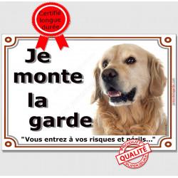 Golden Retriever Tête, Plaque portail Je Monte la Garde, panneau affiche pancarte, risques périls attention au chien