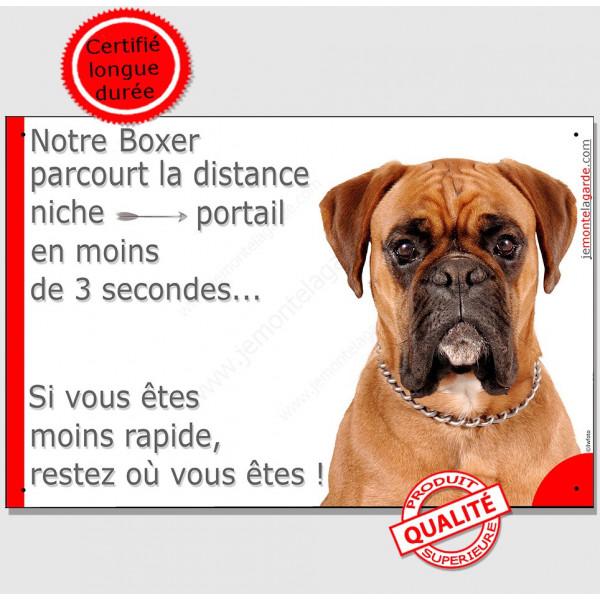 Boxer Fauve tête, Plaque Portail humoristique, pancarte affiche panneau drôle attention chien parcourt distance niche portail 3