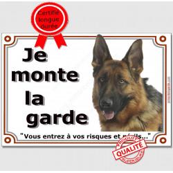 Berger Allemand Poils Courts Tête, Plaque portail Je Monte la Garde, panneau affiche pancarte, risques périls