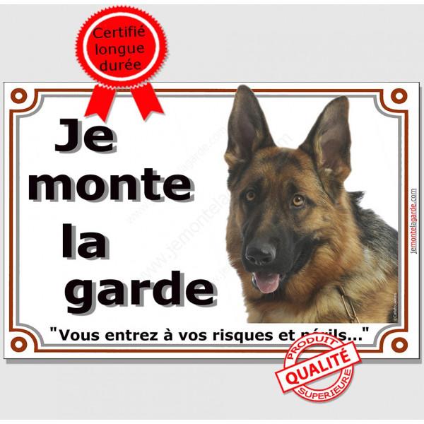 """Berger Allemand Poils Courts Tête, plaque portail """"Je Monte la Garde, risques périls"""" panneau affiche pancarte photo"""