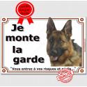 """Berger Allemand Tête, plaque """"Je Monte la Garde"""" 2 tailles LUX B"""