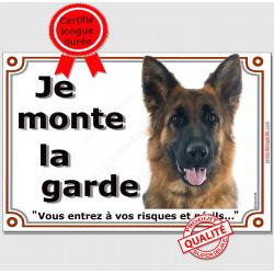 """Berger Allemand Poils Mi-Longs, plaque portail """"Je Monte la Garde,  risques et périls"""" pancarte panneau attention au chien"""
