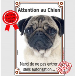 "Carlin fauve, plaque verticale ""Attention au Chien"" 24 cm LUX A"