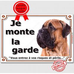Bullmastiff fauve Tête, Panneau portail Je Monte la Garde, plaque affiche pancarte risques et périls attention au chien